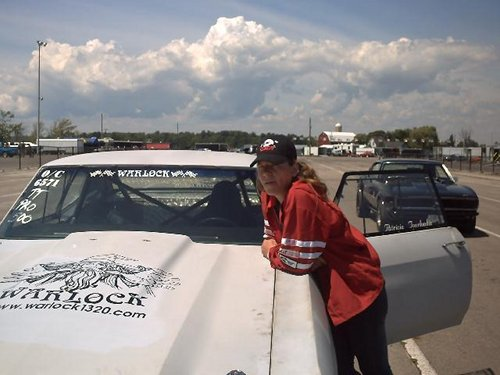 Patricia and the Chevelle before the new paint job